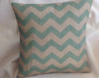 Burlap Pillow Cover, Chevron Rustic Burlap Pillow, Green ZigZag Accent Pillow