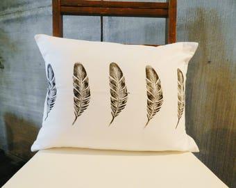 Feather Pillow Cover. Farmhouse Style. Boho Style. Handprinted. Natural Decor. Lumbar Size Pillow Cover. Spring Pillows