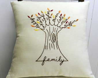 Personalized Family Tree Pillow Cover. Anniversary Gift for Mom or Grandma or Motherinlaw. Anniversary Gift. AUTUMN Leaves. Family Pillow.