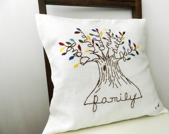 Personalized Family Tree Cover. Family Pillow. Mothers Day Gift for Mom. Mulitcolor Leaves. Parents Anniversary. Unique Birthday Gift.