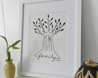 Family Tree Custom Original Art. Last Minute Mother's Day Gift. Wedding Anniversary. Parents or Grandparents. Parents of the Bride or Groom.