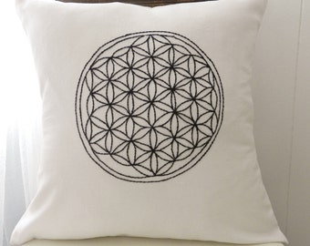 Sacred Geometry Hand Embroidered Pillow Cover. Wall Art. Flower of Life. Meditation Pillow. Fruit of Life. Geometric Design. Yoga pillow