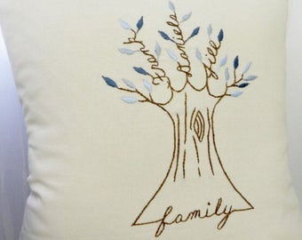 Personalized Family Tree Pillow Cover. Personalized Cushion. Father's Day Gift Shades of BLUE. Family Pillow. Parents anniversary gift.