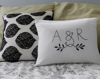 Personalized Initials OR Monogram Pillow Cover. Wedding Gift Personalized. Wedding Gift Anniversary. Husband and Wife Love Pillow.