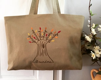 Tote Bag Personalized. Fall Bags. Family Tree Personalized Canvas Shopping Tote. Mom. Mother's Day Gift Grandma or Mother-in-law.