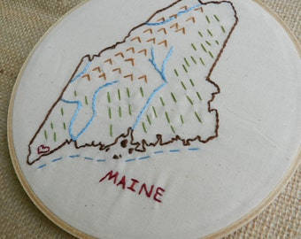 Maine State Map Wall Art. Hand Embroidery Hoop Art. Housewarming Gift. State Outline. Map of Maine. State Art.