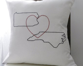 Custom Map and Heart Pillow Cover. Wedding Anniversary Gift. Destination Wedding Gift. Vacation Home Pillows.  States and Heart Pillow.