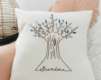 Grandma Pillow Cover. Gift for mom. Personalized Family Tree Art. Nana pillow. Grandchildren Names. Mothers Day Gift for Grandma.