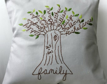 Personalized Pillow Family Tree with Initials. Personalized Anniversary Gift. Customized Mother's Day gift. Gift for Mom.