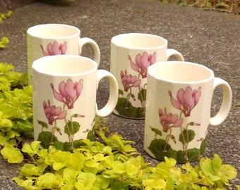 4 Small Tea Cups, Demitasse Cups, Vintage Ceramic Mugs, Pink Cyclamen Flower Mugs, Set of Four Mugs, Made in Japan Glass, Tea Tasting Cup