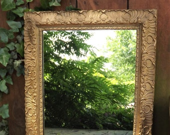 Ornate Gold Mirror, Vintage Hanging Wall Mirror, Vintage Home Decor, Gold Leaf Flower Mirror, Wood Glass Mirror, Gold Painted Wood