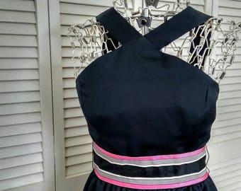 Black Sleeveless Dress, Long Black Dress, Vintage XS Black Dress, Spaghetti Top Strap, Pink and Black Dress, Womens Small Petite Size 3 5