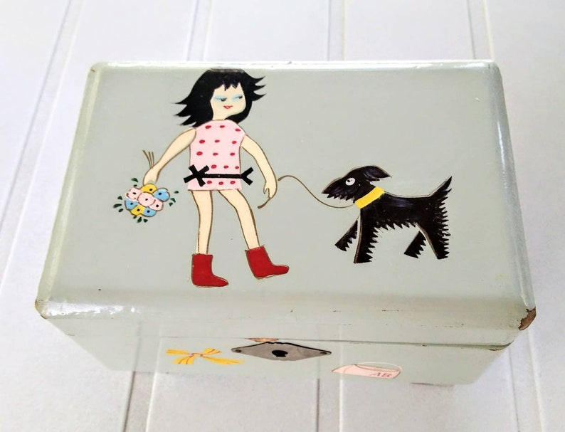 1950s Mid Century Shabby Girl Walking Dog Jewelry Box Childs Musical Jewelry Box Vintage Collectible Music Box Made in Japan Jewelry Box