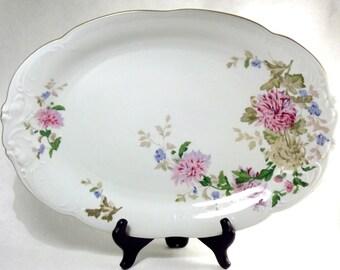 Large Serving Platter, Vintage Floral Platter, Oval Plate, Antique Wawel China Off White Pink Flower Gold Rim