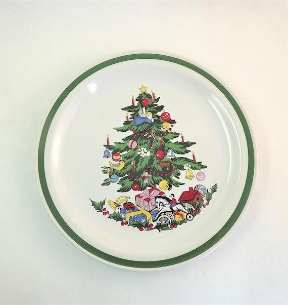 Christmas Plate Set.Christmas Plates Set Of 4 Yamaka Noel Made In Japan Salad Plate Small Ceramic Glass Christmas Tree Dessert Plates Vintage Christmas Plate