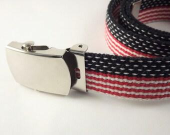 Red White and Blue Belt, Womens Patriotic Belt, USA Flag Belt, Narrow Canvas Red Striped Belt, Silver Buckle Belt, Medium Size Belt