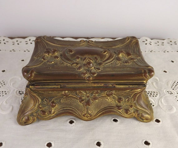 vintage brass box with engraved initials Art Nouveau jewelry box antique dressing table box Antique powder box