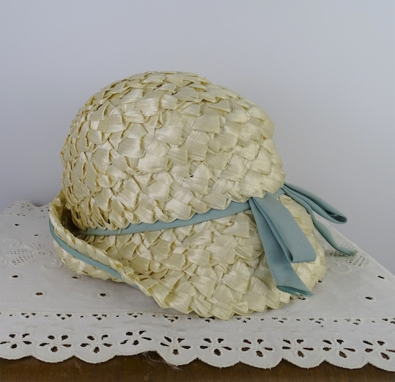Vintage Straw Cloche Hat with Blue Ribbon, Vintage