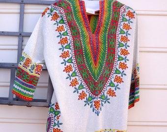 Metallic Shirt Top and Pants Set, Mod Silver Shirt, Shiny Metal Rainbow Shirt, Colorful Party Top, Size Medium 7 Womens Hippie Costume