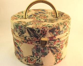 Round Cosmetic Bag with Mirror, Vintage Makeup Bag, Mid Century Travel Bag Handbag, Mod Vintage 1960s Trunk Purse, Fabric Jewelry Box