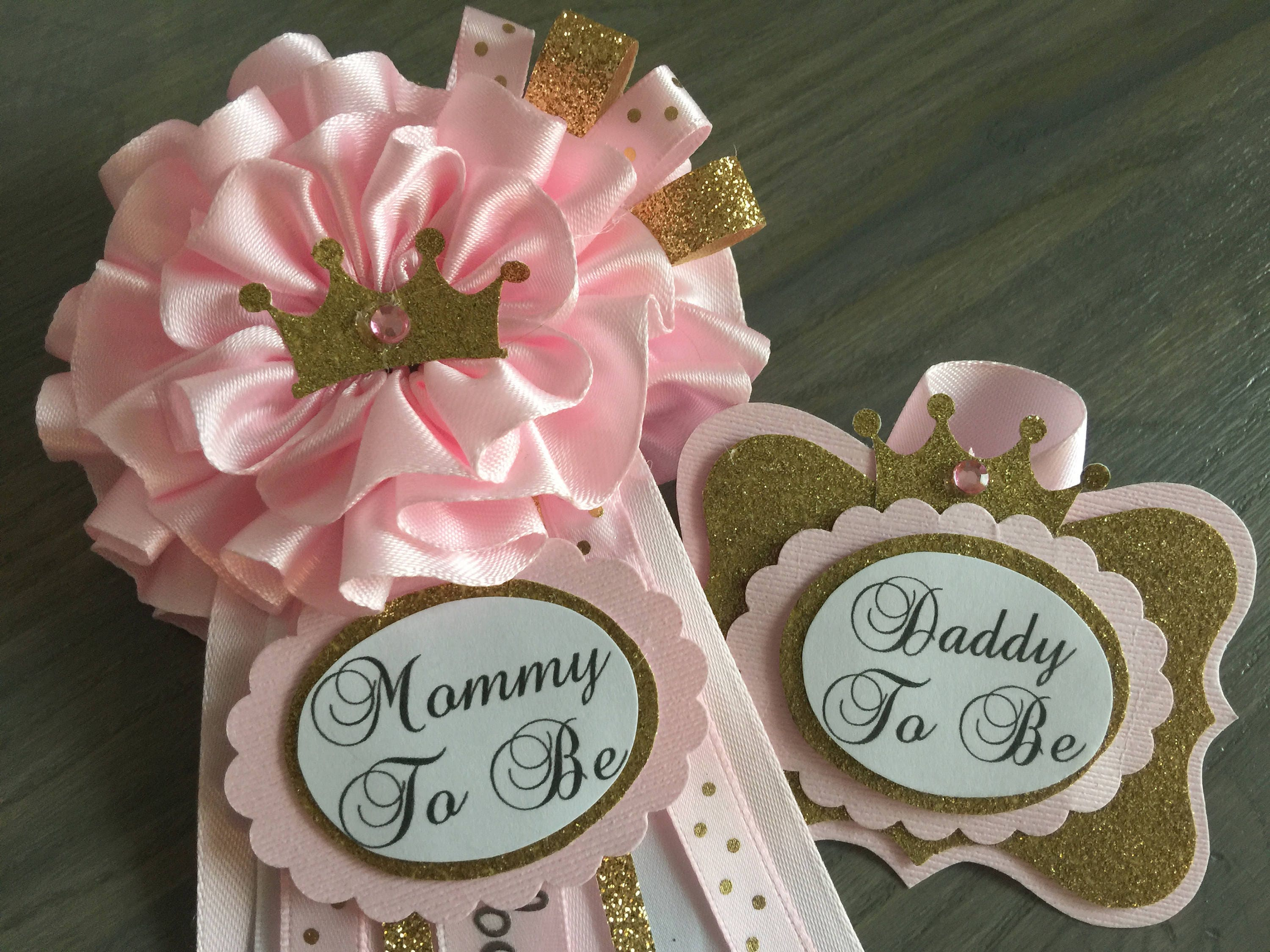 Mommy and Daddy to Be Pin PrincessPink Flower Crown Pink | Etsy