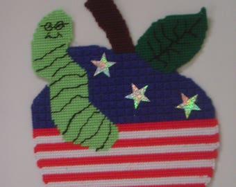 Printable Plastic Canvas Patterns Patriotic  Apple & Worm Wall Hanging  Instant Download PDF Pattern Plastic Cavnas to Print