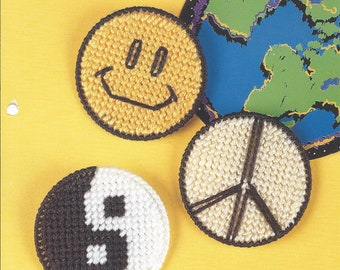 Plastic Canvas Patterns, Round Refrigerator Magnets, Smiley Magnet, Peace Magnet, Yin Yang Magnet