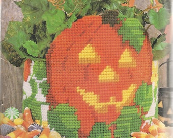 Plastic Canvas Kits Jack-O-Lantern DIY Kit Plastic Canvas Needlepoint Halloween Kit Halloween Pumpkin Kit