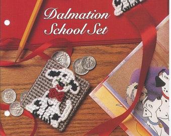 Plastic Canvas Patterns,Dalmation School Set,Dalmation Bookmark,Dalmation Pencil Topper,Dalmation Coin Purse,Vintage Plastic Canvas Patterns