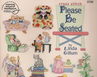 Cross Stitch Patterns,Please Be Seated by Linda Gillum,Bear Cross Stitch ,Animal Cross Stitch Patterns,Pet Cross Stitch.
