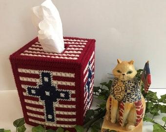 Tissue Box Cover,Patriotic Tissue Cover,Patriotic Tissue Holder,Patriotic Cross,Patriotic Home Decor,Patriotic Housewarming Gifts,Handmade