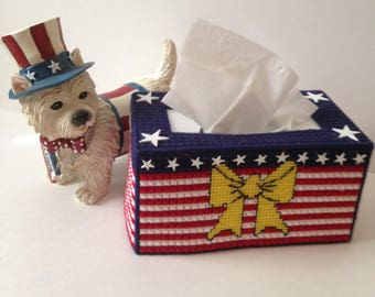 Printable Plastic Canvas Patterns Patriotic  Flag and Ribbon Tissue box Cover Instant Download PDF Pattern Plastic Canvas to Print