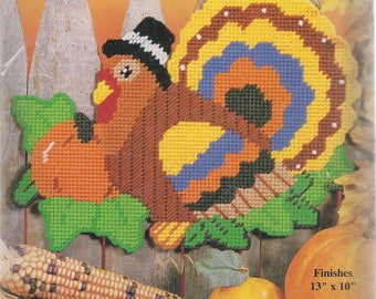 Harvest Turkey Plastic Canvas Kits Wall Hanging Thanksgiving Turkey DIY Kit yarn Craft Kit Fall Crafts Design Works Crafts