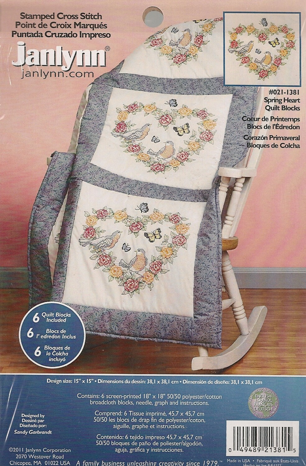 Edredon English.Spring Heart Stamped Quilt Blocks By Janlynn