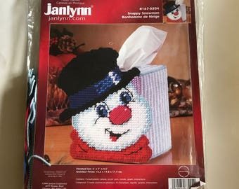 Plastic Canvas Kits Snappy Snowman Tissue Box Cover Stitching Kit janlynn #167-0204