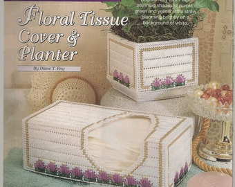 Plastic Canvas Craft Projects Patterns Floral tissue Cover & Planter Plastic Canvas Pattern Needlecrafts Supplies