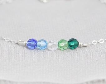 Custom Grandma Bracelet, Personalized Birthstone Bracelet for Mom, Family Jewelry, Christmas Gift for Mom, Grandmother, Mother in Law, Nanny