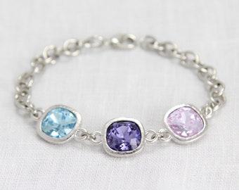 Custom Birthstone Bracelet, Mothers Bracelet, Grandmothers Bracelet, Mom Jewelry, Birthstone Jewelry, Personalized Mother Jewelry Gift Her