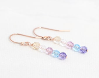 Rose Gold Birthstone Earrings, Christmas Gift for Mom, Earrings, Mothers Jewelry, Family Birthstone Earrings for Grandma, Grandmother, Nanny