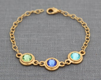 New Mommy Gift, Personalized Bracelet Birthstone, Gold Mothers Grandmothers Jewelry, Custom Birthstone Gift