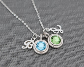 Personalized Initial Necklace, Birthstone Jewelry for Mom, Personalized Gift, Grandma Necklace
