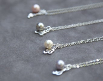 Personalized Bridesmaids Necklace Set of 4, Custom Bridal Party Jewelry, Wedding Party Gift, Sterling Silver Initial Necklaces with Pearls