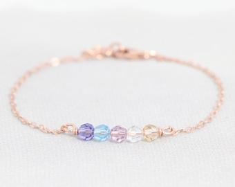 Family Birthstone Bracelet for Grandma, Christmas Gift for Mom Jewelry, Custom Mothers Bracelet, Rose Gold, Sterling Silver, 14kt Gold Fill