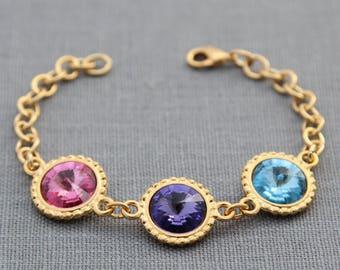 Birthstone Bracelet, Mother's Bracelet, Birthstone Jewelry, Gold, Crystal Grandmother's Bracelet