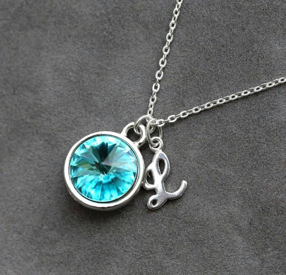 14k Gold Blue Topaz December Birthstone Cursive Letter Q Dog-tag Necklace