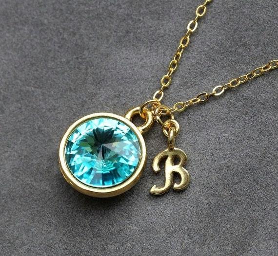 initial birthstone jewelry december blue zircon necklace. Black Bedroom Furniture Sets. Home Design Ideas