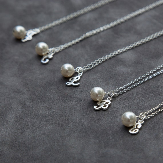 bridesmaid gift THREE Pearl /& initial necklaces Initial necklaces Personalized Bridesmaid gifts Pearl necklaces jewelry gift sets