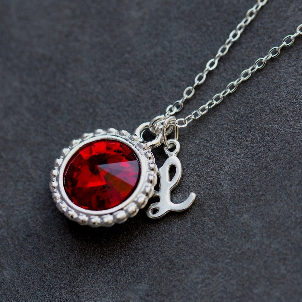 M4-44 January Birthstone Necklace Garnet Necklace Personalized Birthday Gift For Her Red Stone