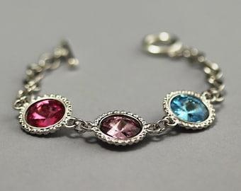 Mother's Bracelet, Birthstone Bracelet, Silver, Swarovski Crystal Mother's Jewelry, Grandmother's Bracelet