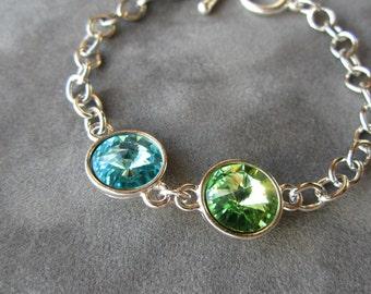 Mother's Birthstone Jewelry, Grandmother's Bracelet, Silver Custom Crystal Mother's Bracelet, Personalized Jewelry